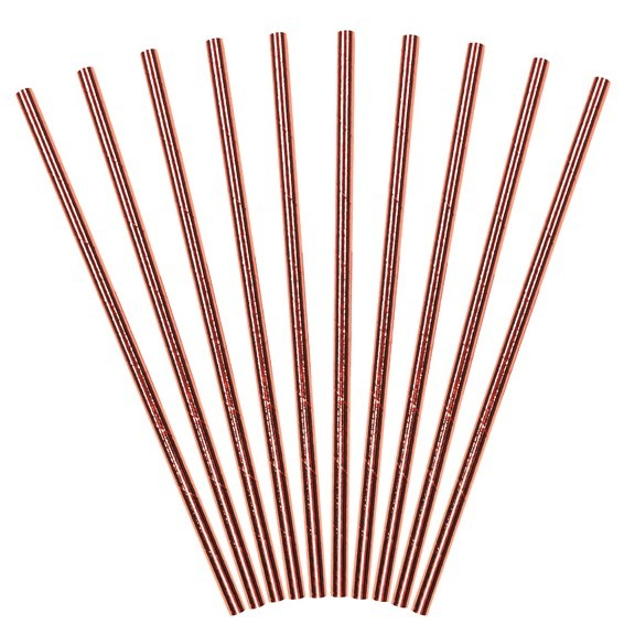 10 Rose Gold Metallic Straws 19.5cm