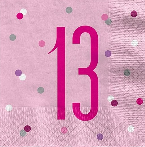 16 Pink Dots 13th Birthday Servietten 33cm