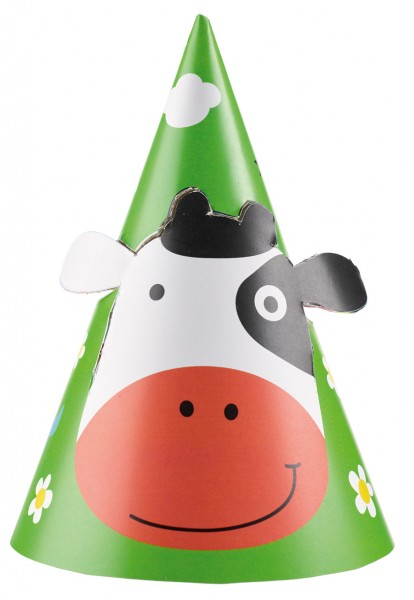Lovable farm animals party hat 8 pieces