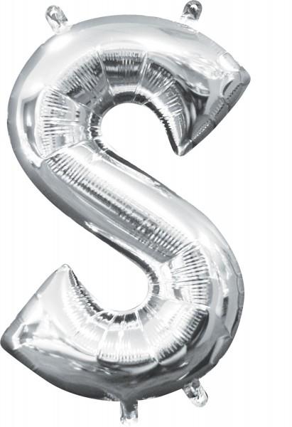 Mini Folienballon Buchstabe S silber 35cm