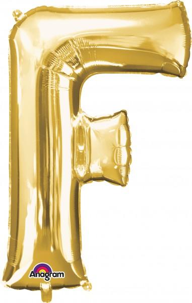 Letter foil balloon F gold 81cm