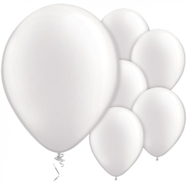 25 white latex balloons pearl 28cm