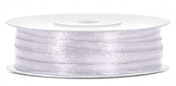 50m satin gift ribbon white 3mm