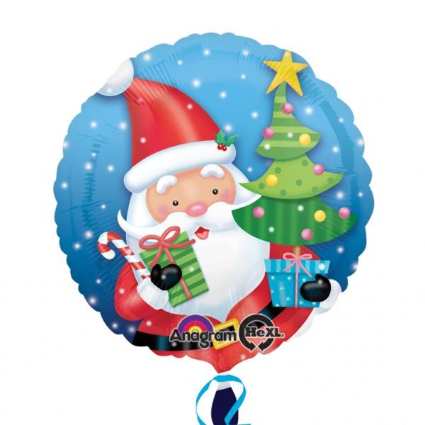 Frohe Weihnachten F303274r Kunden.Runder Folienballon Santa Mit Baum Und Geschenk