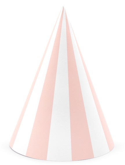 6 One Star Partyhüte hellrosa 16cm