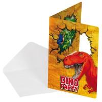 6 Dino Abenteuer Einladungskarten