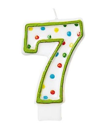 Vieringen Nummer Kaars 7 Met Kleurrijke Stippen Voor Verjaardagstaart