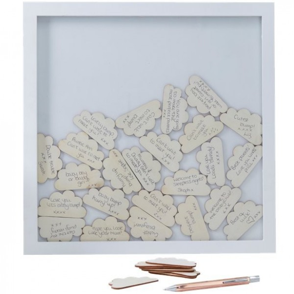 Hello World guest book wooden frame 36cm