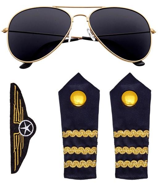 3 Teiliges Piloten Kostüm Set