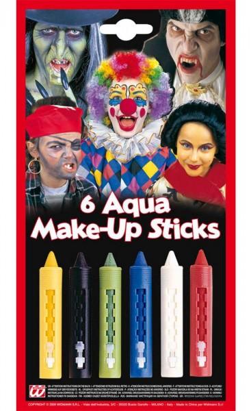 6 colorful aqua make-up sticks