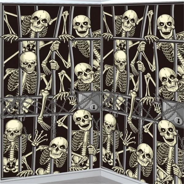 Skelett Gefängnis Wandkulisse 1,06 x 1,8m