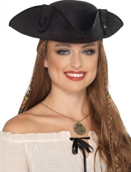 Piraten Dreispitz Hut für Erwachsene schwarz