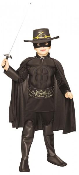 Schwarzes Zorro Kinderkostüm