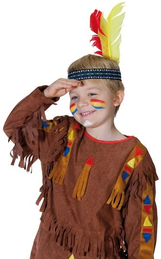 Indianer Stirnband Rot-Gelbe Feder Kinder