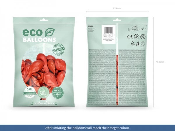 100 Eco Pastell Ballons hellrot 30cm