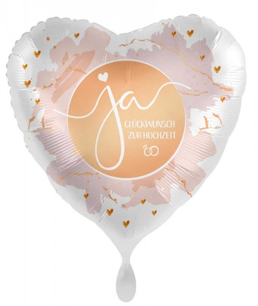 Herz Hochzeits-Folienballon ja 45cm