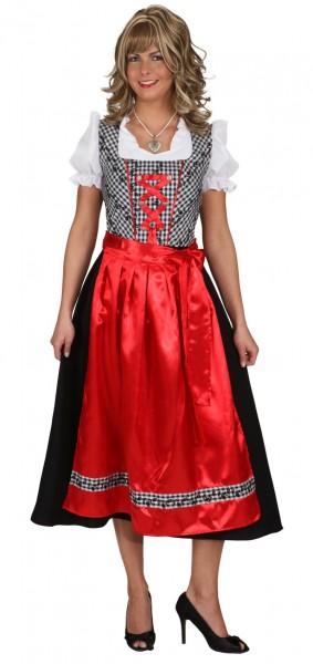 Dirndl Alpenkleid Emily in Rot-Schwarz