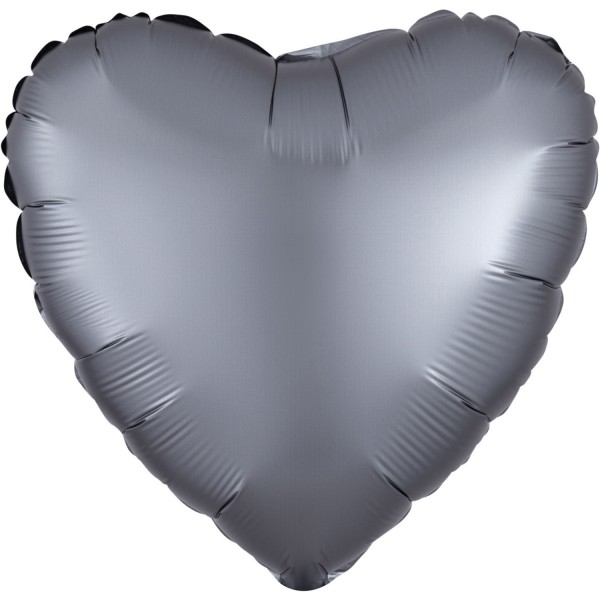 Ballon coeur satiné graphite 43cm