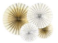 4 Goldene Partynacht Papierrosetten