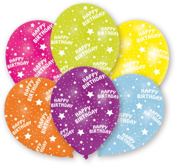 6 balloons Happy Birthday Star colored 27.5 cm