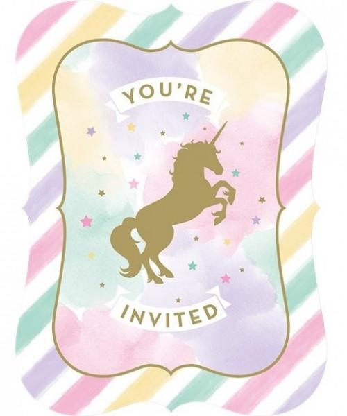 8 Golden Unicorn Einladungskarten