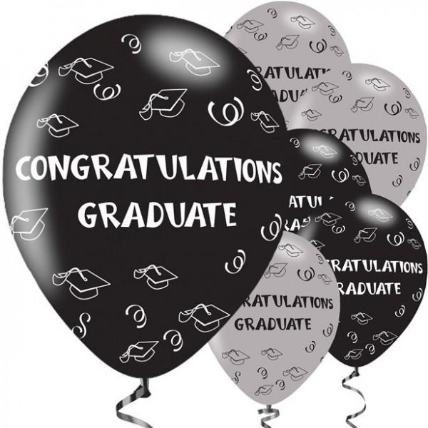 6 Congratulation Graduate Luftballons 28cm