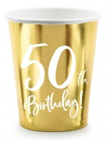 6 Glossy 50th Birthday Becher 220ml
