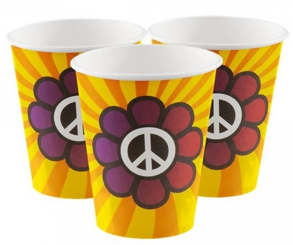 6 Flower Power Rave Pappbecher 250ml