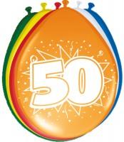 8 Bunte Ballons Zum 50. Geburtstag