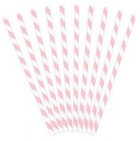 10 gestreifte Papier Strohhalme rosa 19,5cm