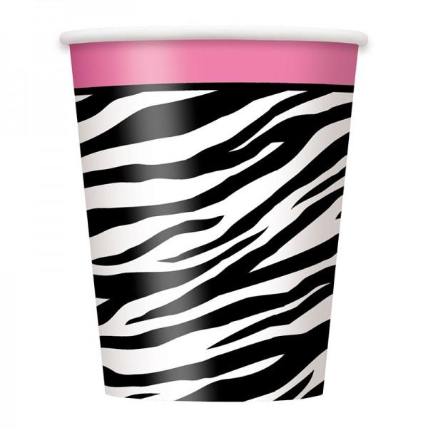 8 Wilde Zebra Party Pappbecher 266ml 1