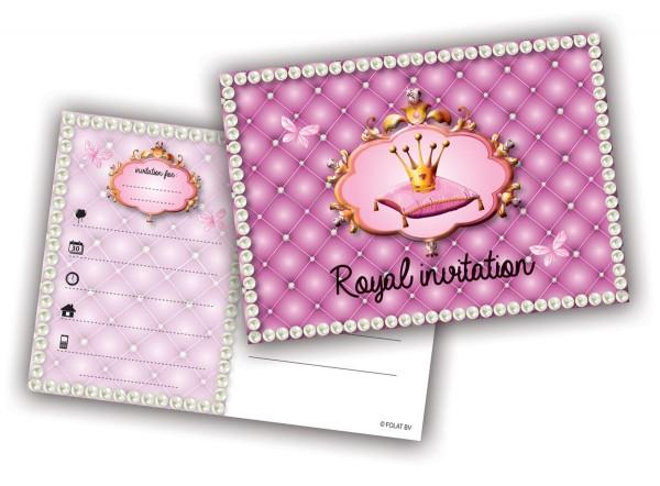 Royale Einladungskarten mit Krone 6 Stk