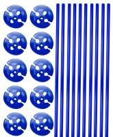 10 Ballonstäbe mit Halterung blau