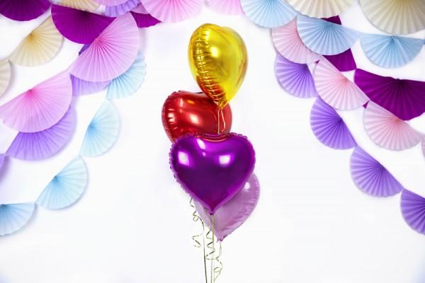 Ballon aluminium Herzilein fuchsia 45cm