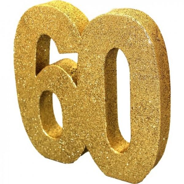 Golden number 60 table decoration 20cm
