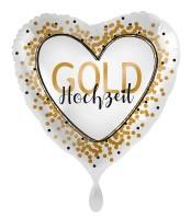 Gold Hochzeit Herz Folienballon 45cm