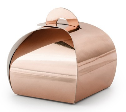 10 scatole regalo oro rosa metallizzato 6 x 6 x 5,5 cm