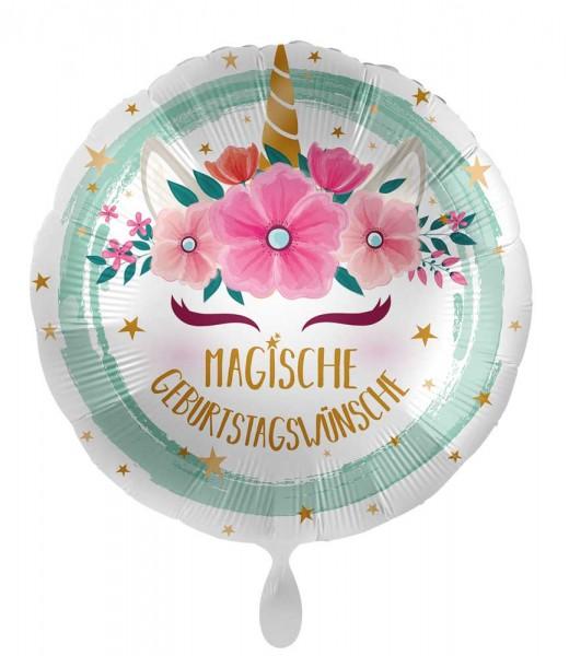 Geburtstags-Folienballon Boho Einhorn 45cm