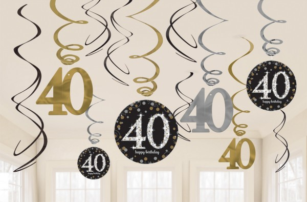 12 cintres spirales Golden 40th Birthday Sparkles 60cm