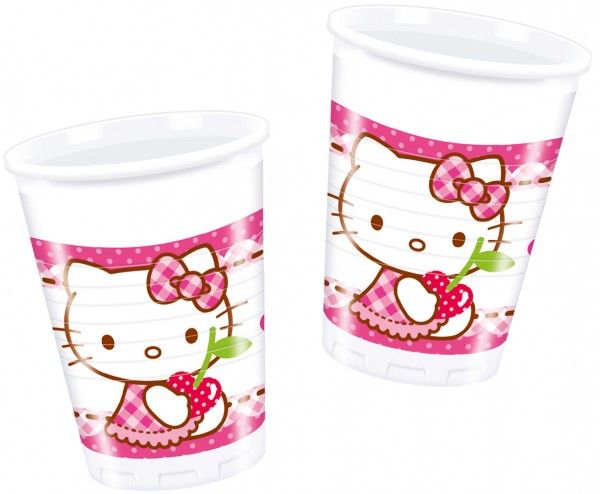 8 Hello Kitty Sweet Cherry Kunststoffbecher 200ml