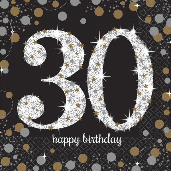 16 golden 30th birthday napkins 33cm