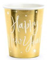 6 vasos dorados de papel Happy New Year 220ml