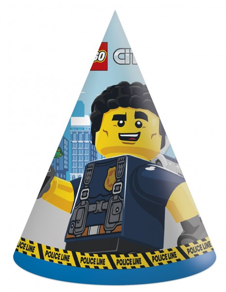 6 Lego City party hats