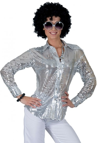 Sequin blouse for women silver