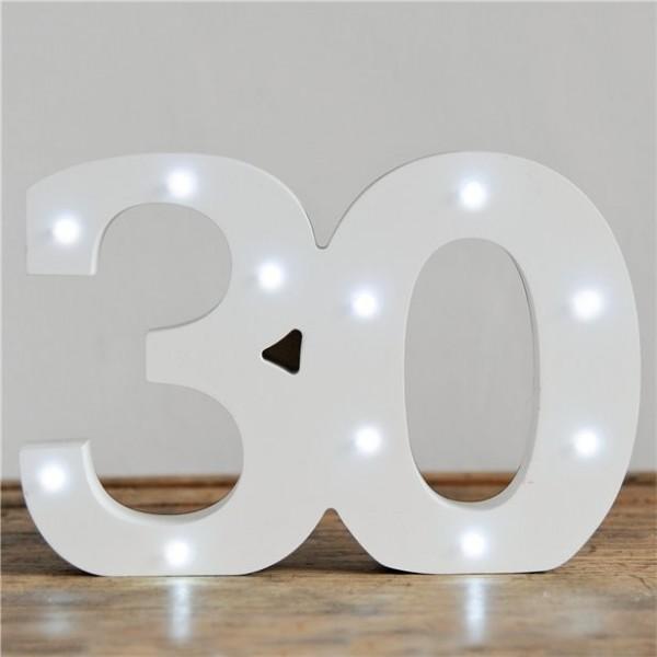 30. Geburtstag Aufsteller mit Lämpchen 16cm x 32cm