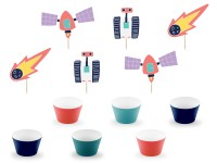 Weltall Party Cupcake Set 12-teilig