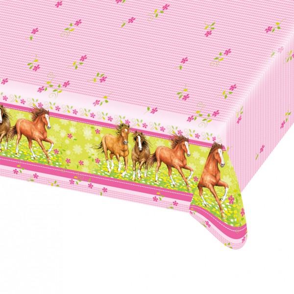 Mantel rosa de fiesta con dibujos de caballos 120x180cm