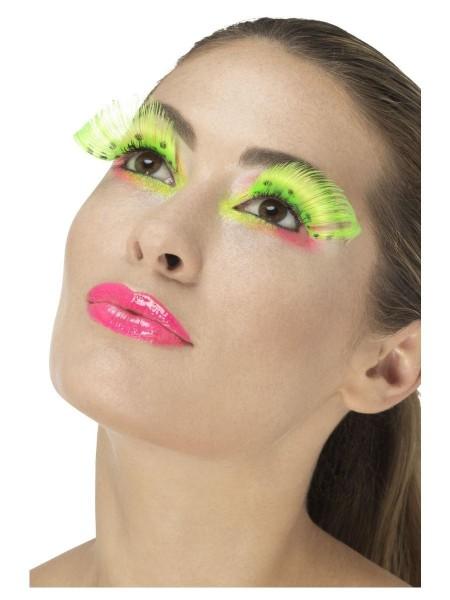 Neon-grüne Feder Wimpern