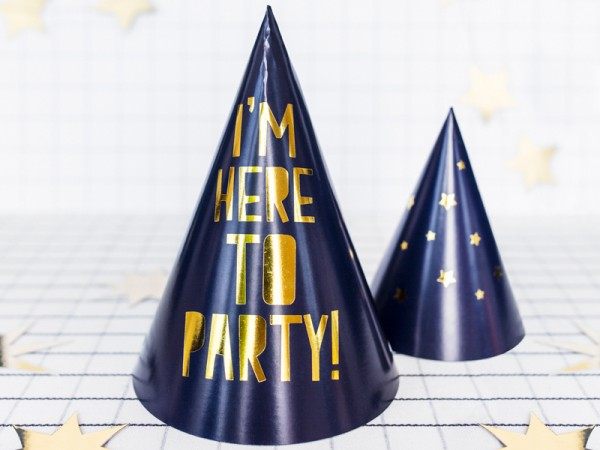 6 Here to Party Hüte 15,5cm 3