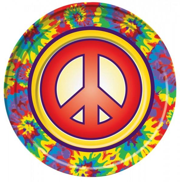 8 Hippie Party Peace Pappteller 23cm